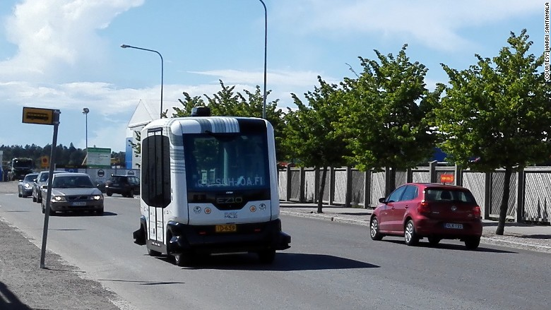 The bus stops, and then moves forward, but the...