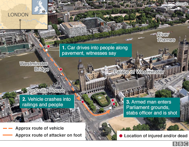 Four dead in Westminster terror attack